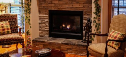 gas fireplace in livingroom